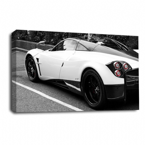 Sports Car Wall Art Picture Print Black White Silver Grey Canvas